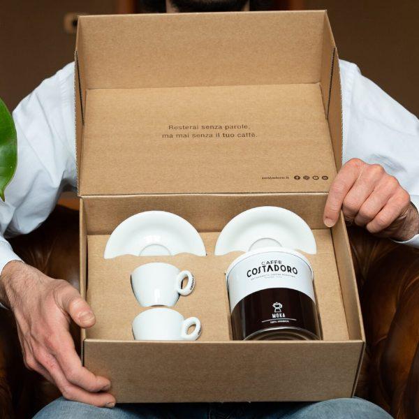 kit caffè per due lattina arabica e tazzine