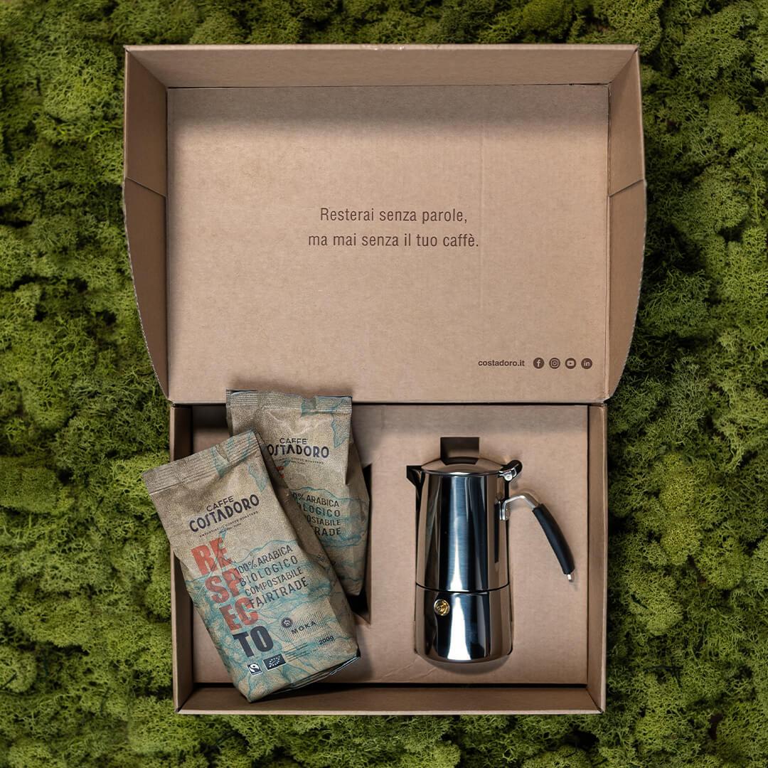 Green Box Moka – Costadoro RespecTo + caffettiera Moka
