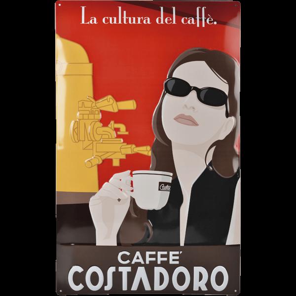 Insegna vintage Costadoro in latta con effetto rilievo