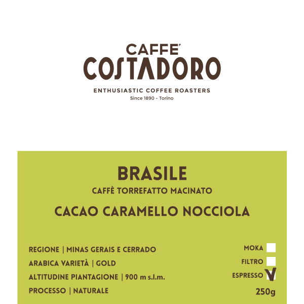 Monorigine Brasile macinato Espresso 250g etichetta