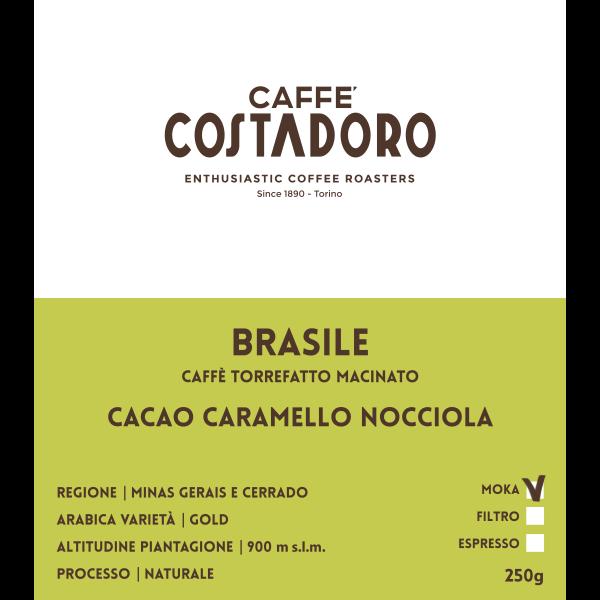 Monorigine Brasile macinato Moka 250g etichetta
