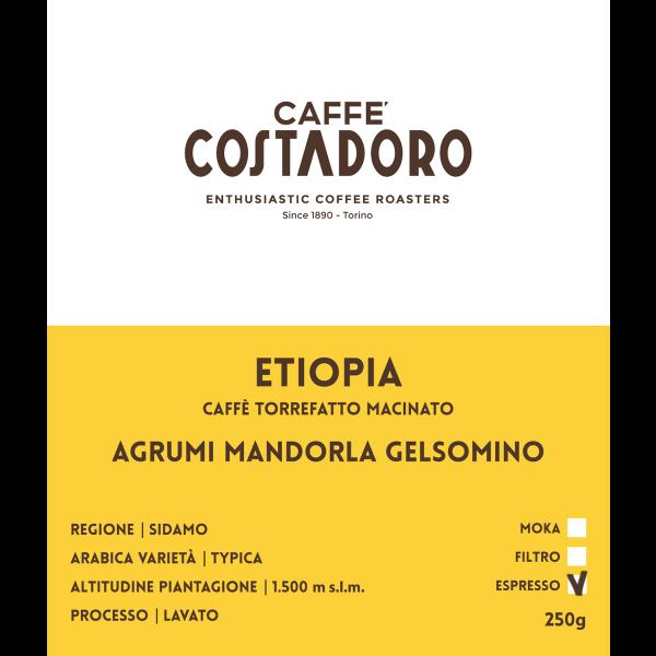 Monorigine Etiopia macinato Espresso 250g etichetta
