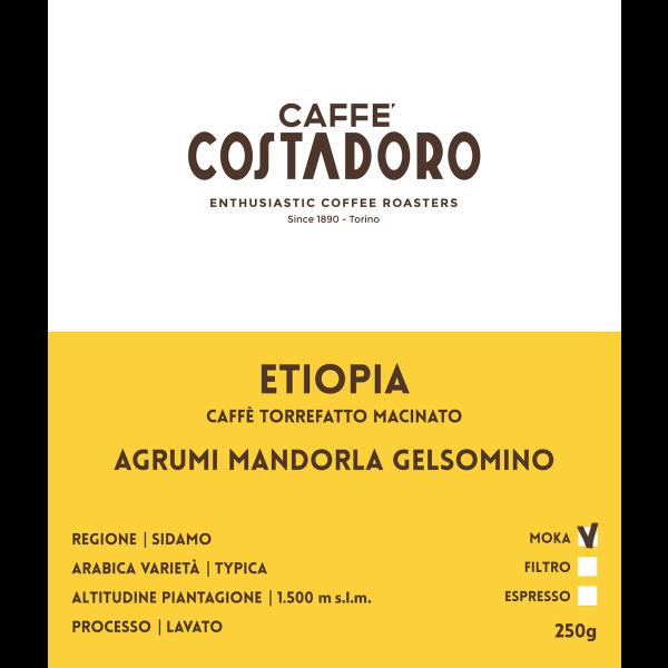 Monorigine Etiopia macinato Moka 250g etichetta