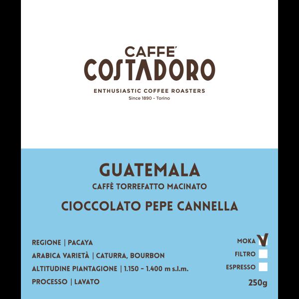 Monorigine Guatemala macinato Moka 250g etichetta