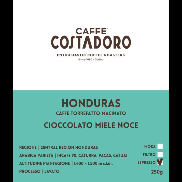 Monorigine Honduras macinato Espresso 250g etichetta