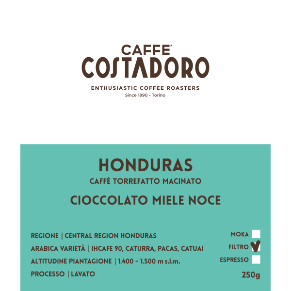 Monorigine Honduras macinato Filtro 250g etichetta