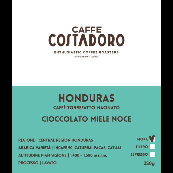 Monorigine Honduras macinato Moka 250g etichetta