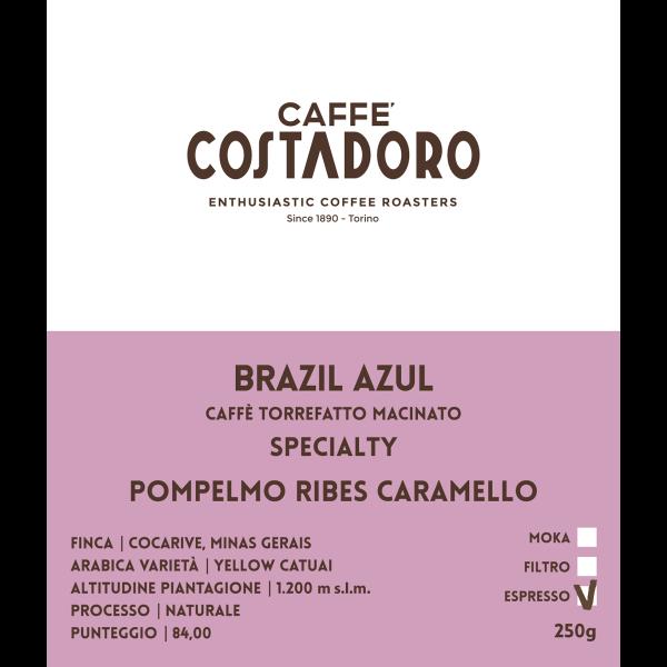 Specialty Coffee Brazil Azul macinato Espresso 250g etichetta