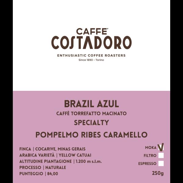 Specialty Coffee Brazil Azul macinato Moka 250g etichetta
