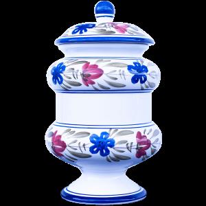 Vaso farmaceutico in ceramica decorata