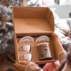 kit caffè per due lattina respecto e tazzine