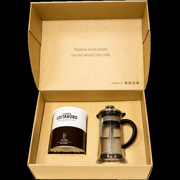 kit pausa caffè lattina arabica french press