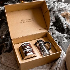 kit pausa caffè christmas lattina french press